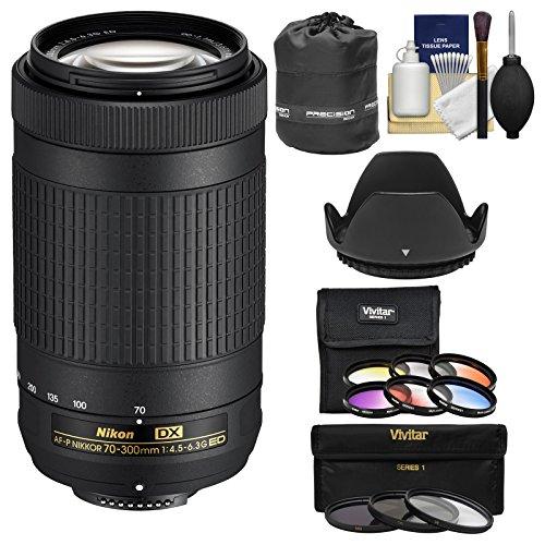 Nikon 70-300mm f/4.5-6.3G DX AF-P ED Zoom-Nikkor Lens with 3 UV/CPL/ND8 & 6 Graduated Color Filters + Pouch + Hood + Kit for DSLR Cameras