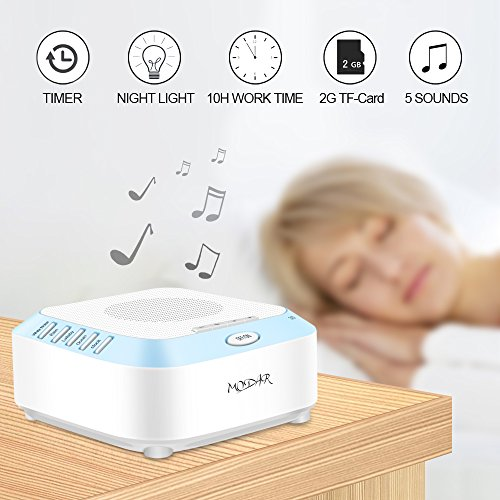 MODAR White Noise Machine with 2G TF Card, Sleep Soothing Natural Sound Therapy Machine Timer - LED Night Light for Baby Kids Adults Infants USB Charging Cable and Adapter Included -