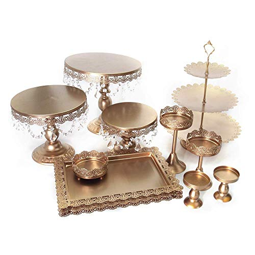 Cake Stands, 12 pcs Metal Crystal Cake Holder Cupcake Stands with Pendants and Beads Cake Stand Dessert, Wedding Birthday Dessert Cupcake Pedestal Display, Gold USA STOCK (12, gold)