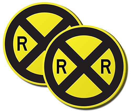 Road Sign, Rail Road Crossing Sign Sticky Note, Paper Count 100 Yellow and Black 2 Pack (Crossing Highway Sign Posters)