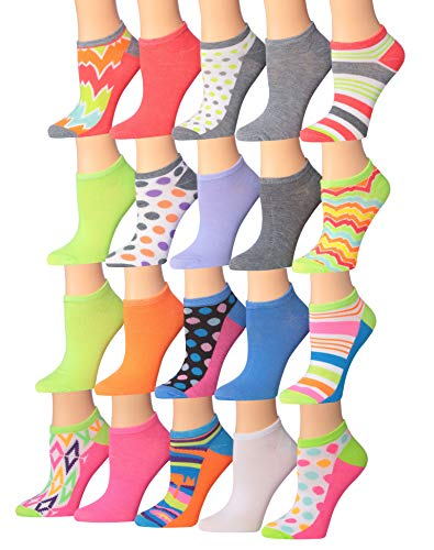 Plain Low Cut - Tipi Toe Women's 20 Pairs Colorful Patterned Low Cut/No Show Socks (NS113-114)