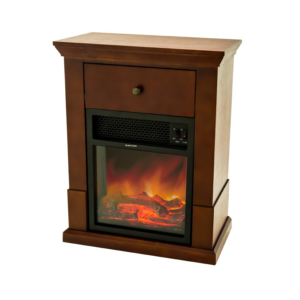 FLAME&SHADE Electric Fireplace with Mantel TV Stand, Small Portable Fireplace Wood Stove Heater with Drawer, Free Standing on Wheels, Black Cherry