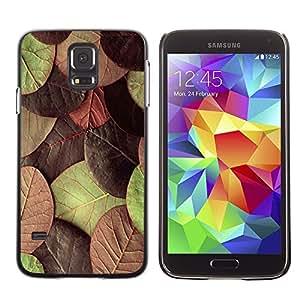 TopCaseStore / la caja del caucho duro de la cubierta de protección de la piel - Autumn Leaves Green Maroon - Samsung Galaxy S5 SM-G900
