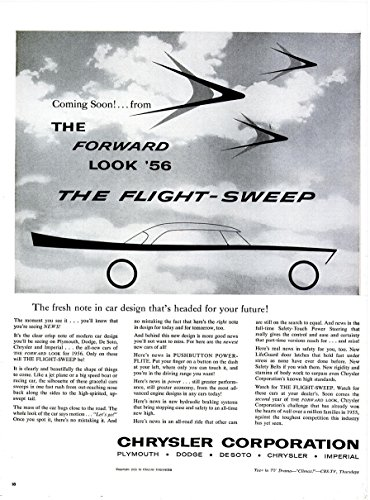1956 CHRYSLER CORPORATION THE FORWARD LOOK '56 PLYMOUTH - DODGE - DE SOTO - CHRYSLER - IMPERIAL