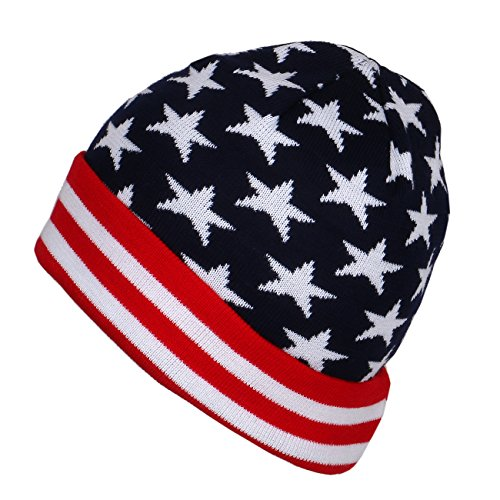 USA Patriotic American Flag Stars Stripes Winter Cuffed Beanie Hat (RWB/Stars) (Hat Beanie Knit Stripe)