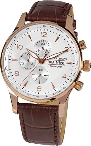 Lemans Jacques Men Watches - Jacques Lemans London 1-1844F 44mm Ion Plated Stainless Steel Case Calfskin Mineral Men's Watch