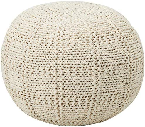 Christopher Knight Home Yuny Fabric Pouf, Ivory