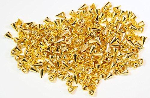 Cone Spikes Screwback Studs DIY Craft Cool Rivets Punk (200pcs 10MM, Gold)
