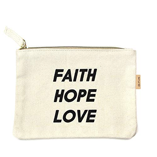 Me Plus Eco Zipper Pouch Stylish Printed, Traveler Organizer, Cosmetic Small Makeup, Students BTS Organization Bag (FAITH HOPE LOVE)