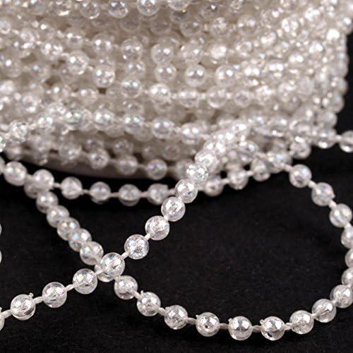 Perlenband Perlenkette Dekoband mit Perlen in 3 und 8mm 1 Meter Meterware
