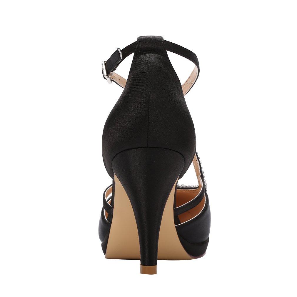 ERIJUNOR E0260D Women Comfort Low Heel Closed-Toe Ankle Strap Platform Satin Bridal Wedding Shoes Black Size 7 by ERIJUNOR (Image #4)