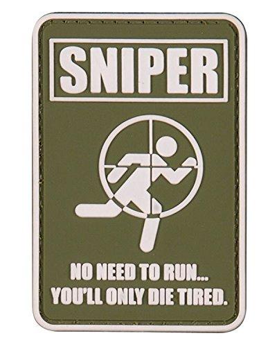 Sniper vous ne Badge en caoutchouc moul/é PVC fatigu/és Patch Velcro dos Vert militaire