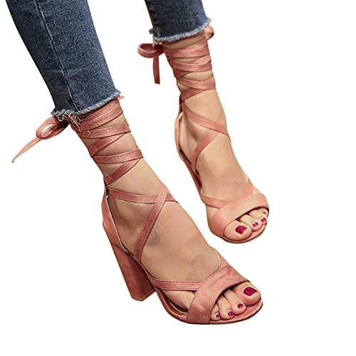 6160ee13c6a6 Women s Lace up Chunky Heeled Sandals Tie Up Ankle Wrap Around Sandals High  Heel Open Toe Wedge Platform Shoes Pink