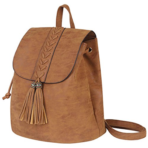 Lady Backpack Casual Rucksack Women Bohemia Tassel Bag PU Leather Vintage Ethnic for Travel