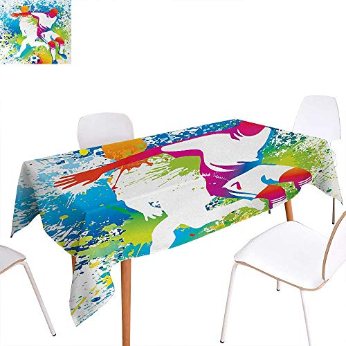 (Warm Family Youth Dinning Tabletop Decoration Football Players with a Soccer Ball and Colorful Grunge Splashes Competition Sports Table Cover for Kitchen 70