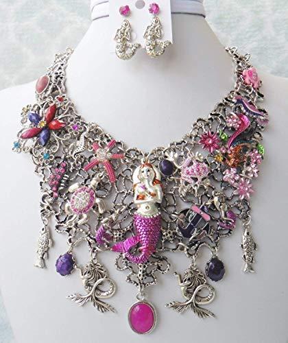 Pink Mermaid Bib Necklace Earrings Frog Turtle Seahorse Fish Flower Jade One of a Kind