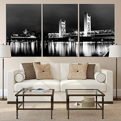 SACRAMENTO Bridge Cityscape Wall Art Canvas Print For Living Room And Dining Decor