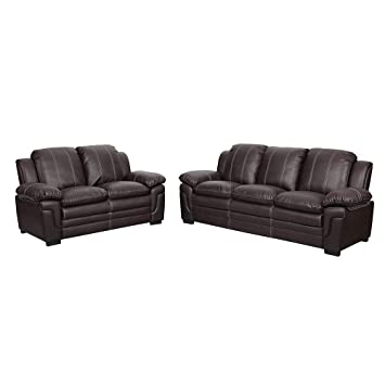 c58b1bffdb59 Gina Faux Leather 3+2 Sofa Set In Black & Brown (Brown): Amazon.co ...