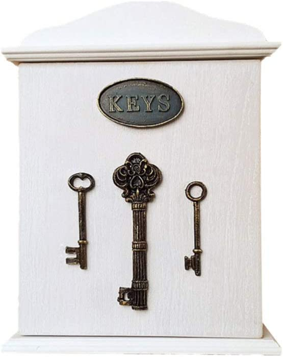 Vosarea Key Cabinet Wall Mount Wooden Key Holder Box Decorative Key Management Entryway Hanging Key Storage Organizer with 6 Key Hooks for Wall Home Decor, 8.3x2.2x10.3inches