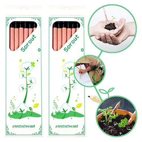 Sprout Pencil CAILLU-Pencil Plant Set of 16 pcs Sprout and Grow,Sprouting Pencil Plant-A Pencil That Can Grow Into a Plant.