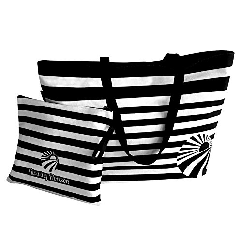(Large Tote Bag/Beach Bags for Women with Matching Clutch/Organizer. Oversize Canvas with Top Zipper)