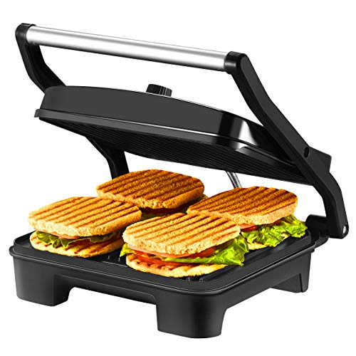 IKICH 4-Serving Nonstick Panini Press, Sandwich Maker -Panini Maker with Temperature Control, Extra-large Plate and Removable Drip Tray, Black, Stainless - Press Professional Sandwich