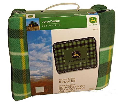 Springs Creative Products John Deere Green Plaid No-Sew Fleece Throw Kit (Fleece Throw Kit No Sew)
