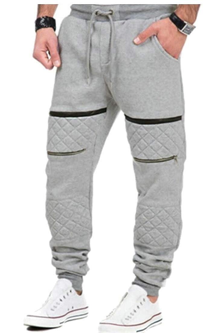 Alion Men Jogger Pants Elastic Waist Zipper Pocket Sweatpants Outdoor Casual Pants