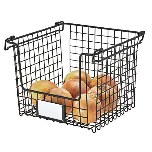 Stackable Basket - InterDesign Classico Stackable Storage Basket with Handles for Pantry, Kitchen, Bathroom, Countertop, and Desk Organization, Medium