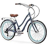"sixthreezero EVRYjourney Women's 21-Speed Step-Through Hybrid Cruiser Bicycle, Navy w/Brown Seat/Grips, 26"" Wheels/ 17.5"" Frame"