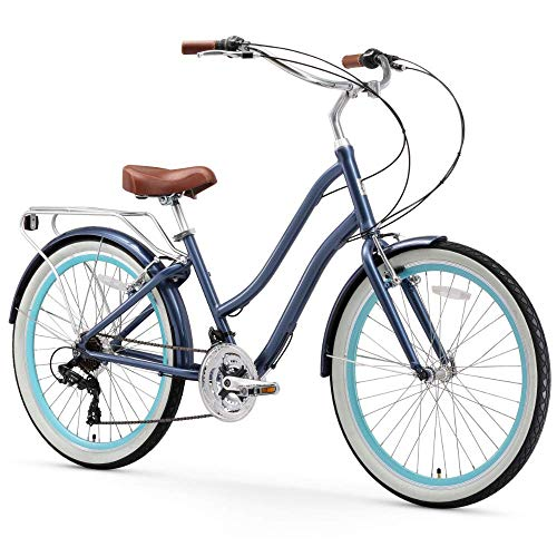 sixthreezero EVRYjourney Women's 21-Speed Step-Through Hybrid Cruiser Bicycle, Navy w/Brown Seat/Grips, 26
