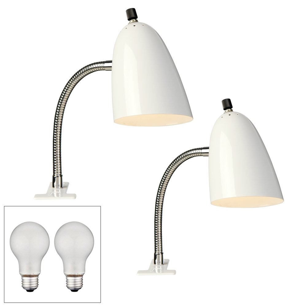 Set of 2 White Gooseneck Headboard Clip Lamps