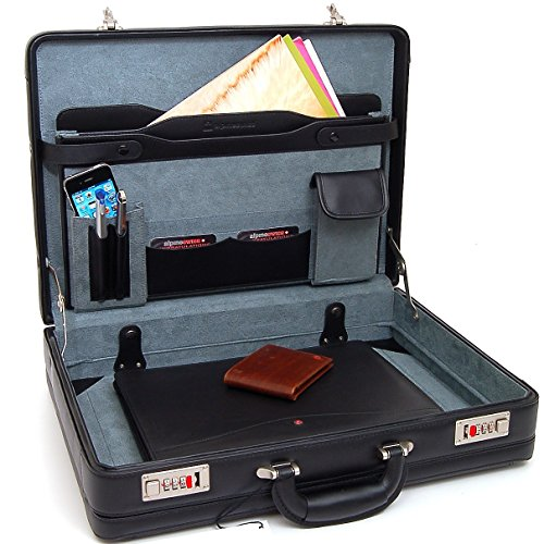 Alpine Swiss Expandable Leather Attache Briefcase Dual Combination Locks 1 Year Warranty by alpine swiss (Image #7)