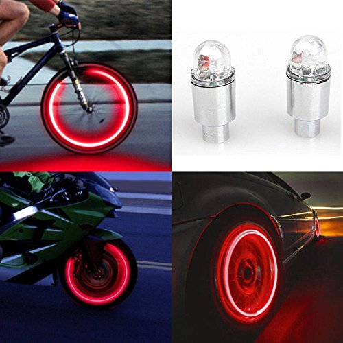 (Little Story  LED Light, 2pcs LED Tire Valve Stem Caps Neon Light Auto Accessories Bike Bicycle Car Auto (Red))