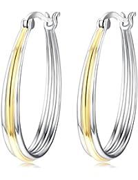 Two-tone Hoops Jewelry Gift S925 Sterling Silver Big Circle Hoop Earrings For Women Girls