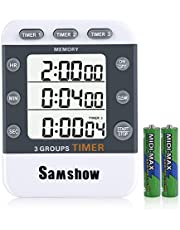 House Kitchen Countdown Timer, On/Off Timer Timers, Gym Study Digital Timer, 3 Group Channels Recycle 99 Hours with Loud Alarm