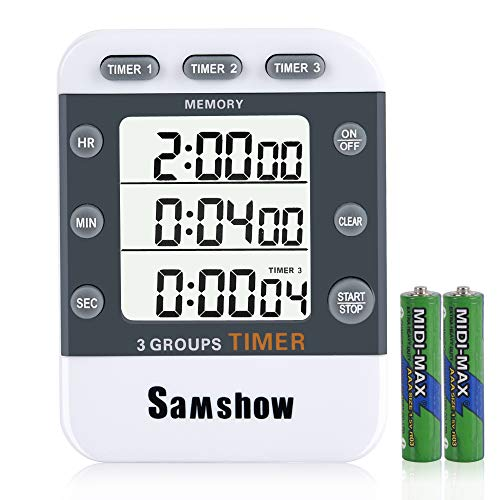 Digital Dual Kitchen Timer, Samshow 3 Channels Count UP/Down Timer, Cooking Timer, Stopwatch, Large Display, Adjustable Volume Alarm with Magnetic Back, Stand, Battery Included (Best Timer Cooking)