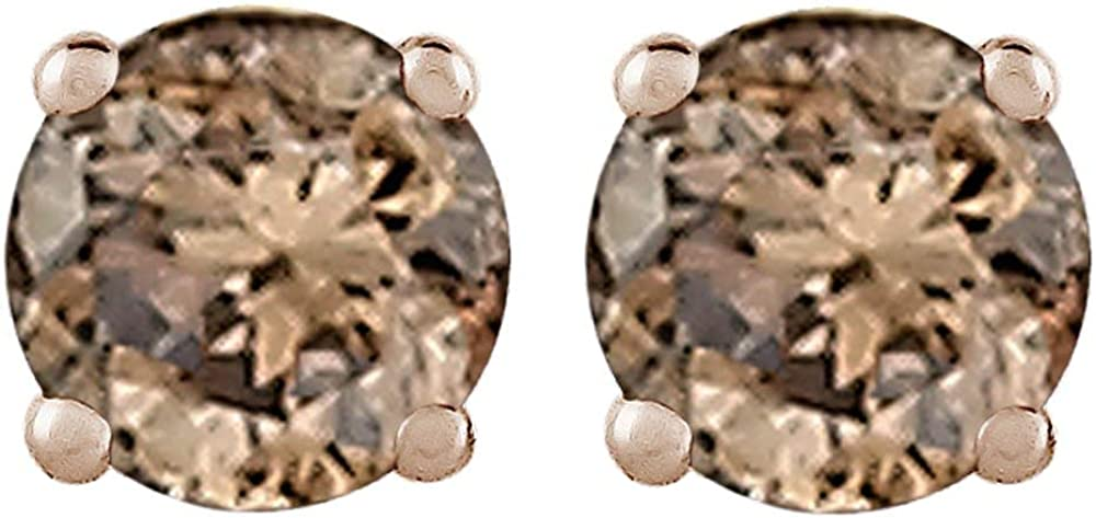 Amazon Com Brown Diamond Earring Studs In 14k Yellow Gold 1 2 Cttw Clothing
