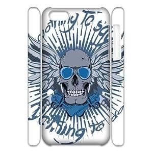 Iphone 5C Skull 3D Art Print Design Phone Back Case Customized Hard Shell Protection LK020300