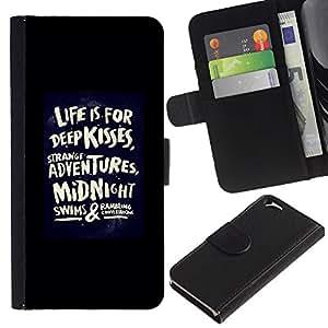 KingStore / Leather Etui en cuir / Apple Iphone 6 / Vida Besos cita del amor Negro Cartel Dare
