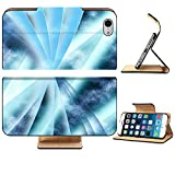 Luxlady Premium Apple iPhone 6 iPhone 6S Flip Pu Leather Wallet Case iPhone6 IMAGE 19863052 Digital abstract shapes glowing in blue tones