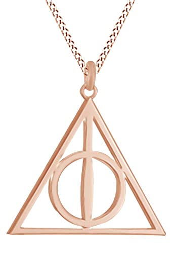 8fc900d45 Amazon.com: AFFY Harry Potter Deathly Hallow Symbol Pendant Necklace in 14K  Rose Gold Over Sterling Silver: Jewelry