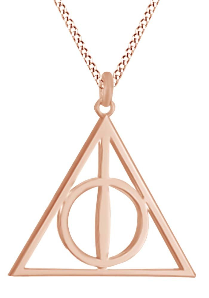 Harry Potter Deathly Hallow Symbol Pendant Necklace In 14K Rose Gold Over Sterling Silver