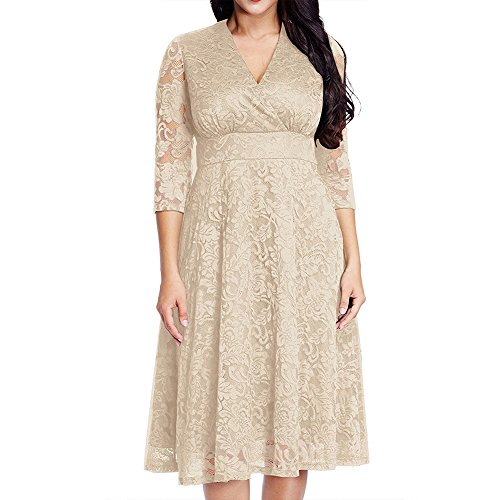 Plus Size Informal Wedding Dress (Chenghe Women's PlPlus Size Lace Bridal Skater Wedding Party Mother Dress Beige Plus22-24)