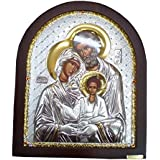 Silver Holy Land Icon Of The Holy Family Of Jesus Saint Joseph Mary and Baby Jesus Jerusalem