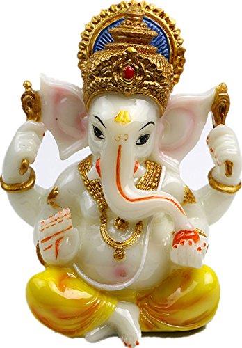 Mini Ganesha Statue Ganesh For Car Dashboard- 5.5H Resin Buddha Elephant Yoga Meditation Wedding Gifts (Jade Finish)