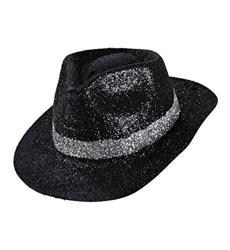 Adult's Black Glitter Fedora (Glitter Fedora Hats)
