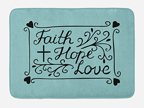Ambesonne Hope Bath Mat, Hand Lettering Spiritual Faith Hope Love Quote with Floral Arrangement Hearts, Plush Bathroom Decor Mat with Non Slip Backing, 29.5 W X 17.5 W Inches, Pale Blue and Black by Ambesonne