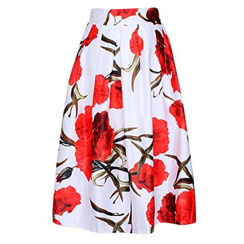 Aivtalk Damen Mädchen Retro Elegant Hoher Bund A-Linie 62cm Knielang Midi Rock Elastisch Bund Rot Blumen - Weiß