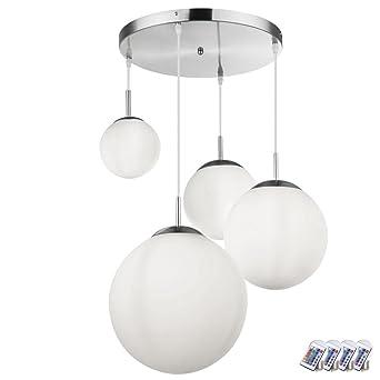 LED Luxus Hänge Leuchte Wohn Zimmer Pendel Lampe Kugel Form weiß Glas Schirm